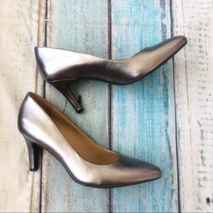 Naturalizer Evie Shoes Heels Silver Leather